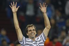 Albert Ramos-Vinolas of Spain celebrates winning his men's singles tennis match against Roger Federer of Switzerland at the Shanghai Masters tennis tournament in Shanghai, China, October 13, 2015. REUTERS/Aly Song