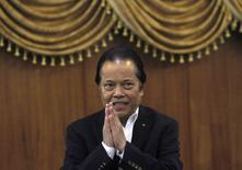 Then Football Association of Thailand (FAT) President Worawi Makudi gestures after a news conference at the association office in Bangkok in this September 19, 2012 file photo.   REUTERS/Chaiwat Subprasom/Files