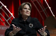 Lockheed Martin's Chairman, President, and CEO Marillyn Hewson speaks during Fortune's Most Powerful Women Summit in Washington October 13, 2015. REUTERS/Kevin Lamarque