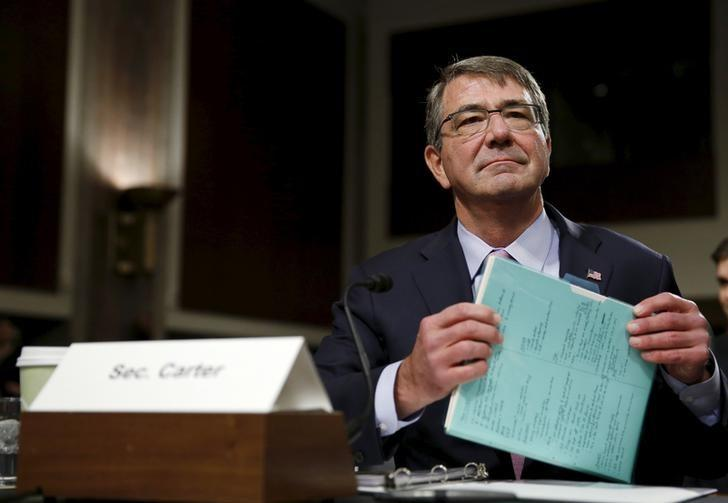 United States Secretary of Defense Ash Carter prepares to testify at a Senate Armed Forces Committee hearing on ''United States Strategy in the Middle East'' in Washington October 27, 2015. REUTERS/Gary Cameron