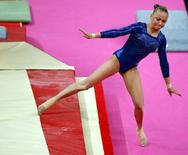 Maria Paseka of Russia competes in the women's gymnastics vault final in the North Greenwich Arena during the London 2012 Olympic Games August 5, 2012.      REUTERS/Mike Blake