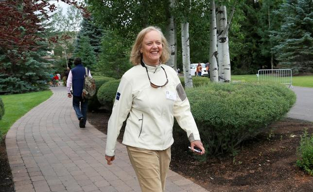 Meg Whitman walks at the annual Allen and Co. conference in Sun Valley, Idaho Resort July 11, 2013. REUTERS/Rick Wilking