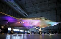 A Lockheed Martin F-35 Lightning II fighter jet is seen in its hanger at Patuxent River Naval Air Station in Maryland October 28, 2015.     REUTERS/Gary Cameron     - RTX1TOPW
