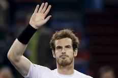 Andy Murray of Britain celebrates after winning his men's singles quarter-final match against Tomas Berdych of Czech Republic at the Shanghai Masters tennis tournament in Shanghai, China, October 16, 2015. REUTERS/Aly Song