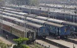 Parked passengers trains are seen at a railway station in Mumbai, India, October 22, 2015. REUTERS/Shailesh Andrade