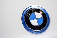 A BMW emblem is pictured at the 2015 New York International Auto Show in New York City, in this April 2, 2015 file photo. REUTERS/Eric Thayer/Files