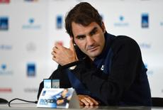 Tennis - Barclays ATP World Tour Finals Media Day - O2 Arena, London - 13/11/15 Switzerland's Roger Federer during a press conference Action Images via Reuters / Tony O'Brien Livepic