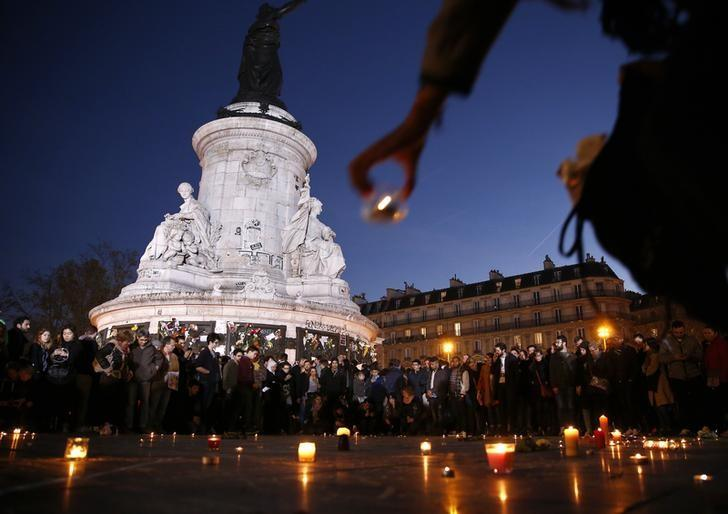 A candle is placed during a vigil in Place de la Republique following the series of deadly attacks in Paris, November 15, 2015. REUTERS/Benoit Tessier