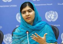 Prêmio Nobel da Paz Malala Yousafza concede entrevista coletiva na sede da Organização das Nações Unidas (ONU), em Nova York. 25/09/2015 REUTERS/Darren Ornitz