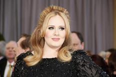 "Singer and Oscar telecast performer Adele, nominated for the song ""Skyfall"" from the James Bond film ""Skyfall,"" arrives at the 85th Academy Awards in Hollywood, California February 24, 2013.  REUTERS/Lucy Nicholson"