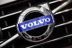A Volvo logo is seen during preparations for the 2014 LA Auto Show in Los Angeles, California November 18, 2014. REUTERS/Lucy Nicholson