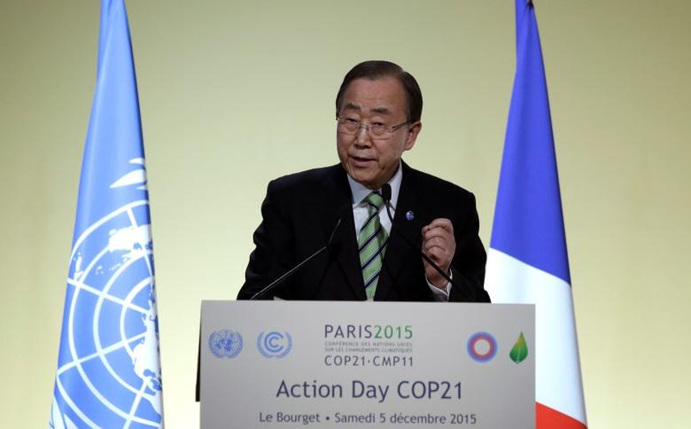 United Nations Secretary General Ban Ki-moon delivers his speech during the Action Day at the World Climate Change Conference 2015 (COP21) at Le Bourget, near Paris, France, December 5, 2015.     REUTERS/Philippe Wojazer