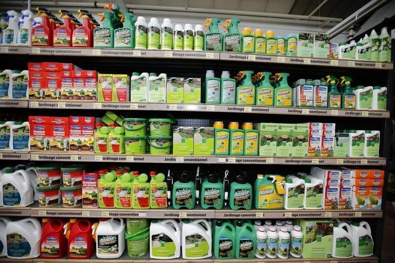 Weedkillers including Monsanto's Roundup are displayed for sale at a garden shop at Bonneuil-Sur-Marne near Paris, France, June 16, 2015.      REUTERS/Charles Platiau