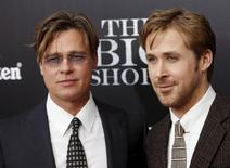"Cast members Brad Pitt and Ryan Gosling pose on the red carpet at the premiere of  ""The Big Short"" in New York in this file photo from November 23, 2015.  REUTERS/Shannon Stapleton/Files"