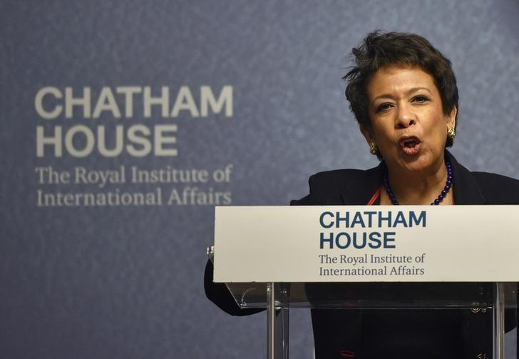 U.S. Attorney General Loretta Lynch speaks at a 'Countering Terrorism: A Global Perspective' event at Chatham House in London, Britain December 9, 2015. REUTERS/Toby Melville