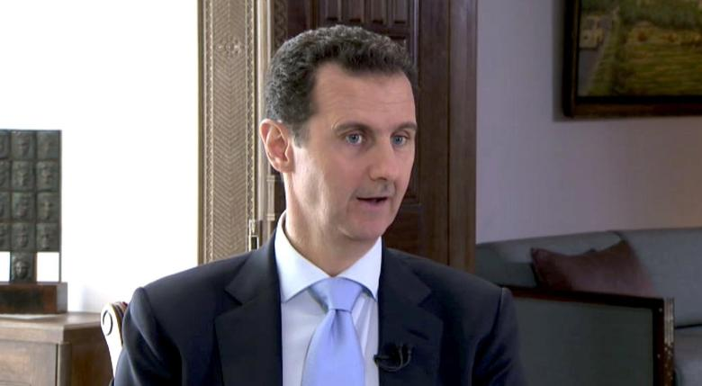 Syrian President Bashar al-Assad speaks during a TV interview in Damascus, Syria in this still image taken from a video on November 29, 2015.  REUTERS/Reuters TV courtesy of Czech Television