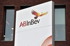 The logo of Anheuser-Busch InBev is pictured outside the brewer's headquarters in Leuven, November 10, 2015.   REUTERS/Eric Vidal