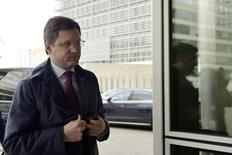 Russia's Energy Minister Alexander Novak arrives at the European Commission headquarters in Brussels ahead of a meeting with EU officials March 2, 2015.  REUTERS/Eric Vidal