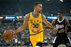 Jan 9, 2016; Sacramento, CA, USA; Golden State Warriors guard Stephen Curry (30) gains control of the ball during the first quarter against the Sacramento Kings at Sleep Train Arena. Mandatory Credit: Ed Szczepanski-USA TODAY Sports