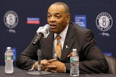 Sep 26, 2014; East Rutherford, NJ, USA; Brooklyn Nets head coach Lionel Hollins speaks to the media during media day at the Brooklyn Nets Practice Facility. Mandatory Credit: Brad Penner-USA TODAY Sports