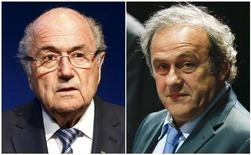 Ex-presidentes da Fifa, Joseph Blatter, e da Uefa, Michel Platini. REUTERS/Ruben Sprich