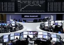 Las bolsas europeas ampliaban el miércoles el avance de la sesión previa tras un dato de comercio chino mejor de lo esperado que alivió algo la preocupación sobre una desaceleración de la segunda economía mundial.  En la imagen, operadores trabajando en la Bolsa de Fráncfort, el 12 de enero de 2016. REUTERS/Staff/Remote