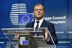 European Council President Donald Tusk gestures during a news conference after a European Union leaders summit in Brussels, Belgium December 18, 2015. REUTERS/Eric Vidal