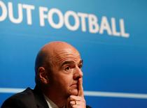 UEFA General Secretary Gianni Infantino gestures during a news conference after an Executive Committee meeting at the UEFA headquarters in Nyon, Switzerland, January 22, 2016.  REUTERS/Denis Balibouse