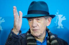 "Actor Ian McKellen poses during a photocall to promote the movie ""Mr. Holmes"" in the Panorama section at the 65th Berlinale International Film Festival in Berlin February 8, 2015. REUTERS/Hannibal Hanschke"