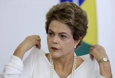 Brazil's President Dilma Rousseff attends a ceremony for regulating the Green Free Trade Zone in some cities of the Amazon, at Planalto Palace in Brasilia, Brazil, December 18, 2015. REUTERS/Ueslei Marcelino