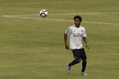 Luiz Adriano of Brazil trains in Shenzhen July 24, 2015. REUTERS/Bobby Yip