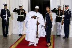 Gambia's President Yahya Jammeh and his wife Zineb Jammeh arrive for the official U.S.-Africa Leaders Summit dinner at the White House in Washington, in this August 5, 2014 file picture. REUTERS/Larry Downing/Files