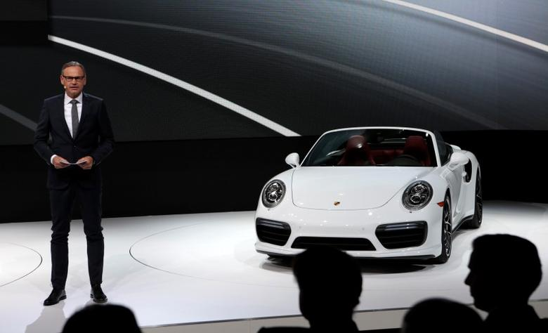Dr. Oliver Blume, Chairman of the Executive Board for Porsche AG, introduces the 2017 Porsche 911 Turbo S at the North American International Auto Show in Detroit, Michigan January 11, 2016.  REUTERS/Rebecca Cook