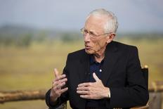Federal Reserve Vice Chairman Stanley Fischer speaks during a televised interview during the Federal Reserve Bank of Kansas City's annual Jackson Hole Economic Policy Symposium in Jackson Hole, Wyoming in this August 28, 2015 file photo. REUTERS/Jonathan Crosby