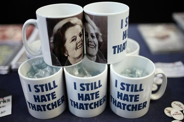 Novelty mugs bearing a photograph of former British Prime Minister Margaret Thatcher are displayed for sale on a stand at the Trades Union Congress (TUC) in Liverpool, northern England September 9, 2014. REUTERS/Phil Noble