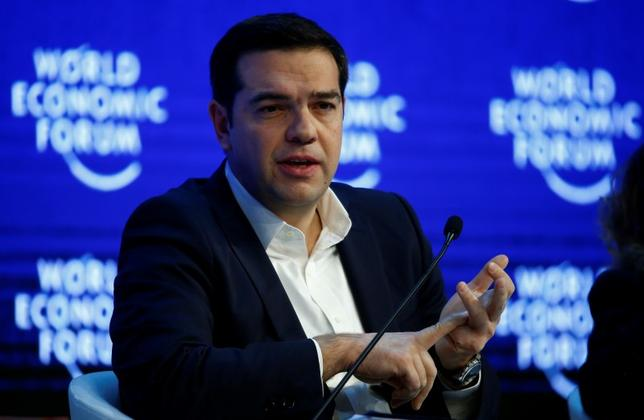 Greek Prime Minister Alexis Tsipras gestures during the session 'The Future of Europe' at the annual meeting of the World Economic Forum (WEF) in Davos, Switzerland January 21, 2016. REUTERS/Ruben Sprich