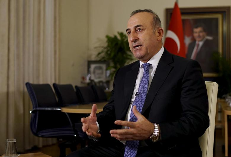 Turkey's Foreign Minister Mevlut Cavusoglu answers a question during an interview with Reuters in Ankara, Turkey, February 16, 2016. REUTERS/Umit Bektas
