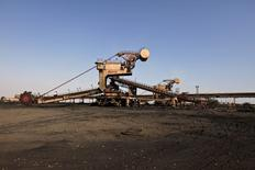 A universal machine made in the USSR stands in open ground near the conveyer belt at coal handling plant at the Pakistan Steel Mills (PSM) on the outskirts of Karachi, Pakistan, February 8, 2016. REUTERS/Akhtar Soomro