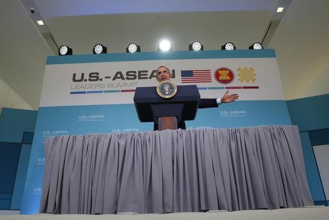 2月16日、オバマ米大統領は、米カリフォルニア州で開催された米・ASEAN首脳会議で、南シナ海の緊張緩和に向けた具体的措置の必要性を協議したと明らかにした(2016年 ロイター/Kevin Lamarque)