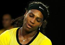 Serena Williams reacts during her final match against Angelique Kerber, January 30, 2016. Kerber beat Williams 6-4 3-6 6-4. REUTERS/Tyrone Siu