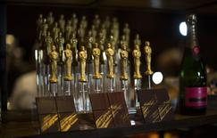 Oscar shaped chocolates are pictured at a preview of the food and decor for the 87th Academy Awards' Governors Ball at the Ray Dolby ballroom in Hollywood, California in this February 4, 2015, file photo. REUTERS/Mario Anzuoni/Files