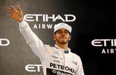 Formula One - F1 - Abu Dhabi Grand Prix 2015 - Yas Marina Circuit, Abu Dhabi, United Arab Emirates - 29/11/15 Mercedes' Lewis Hamilton celebrates after finishing in second place Mandatory Credit: Action Images / Hoch Zwei Livepic