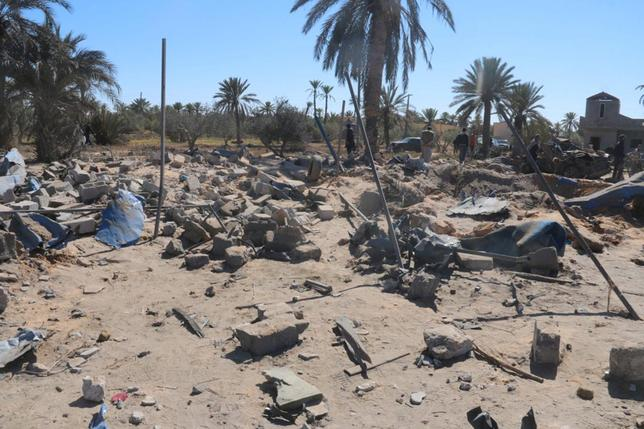 A view shows damage at the scene after an airstrike by U.S. warplanes against Islamic State in Sabratha, Libya in this February 19, 2016 handout picture. REUTERS/Sabratha municipality media office/Handout via Reuters/Files