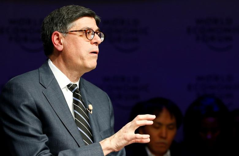 Jack Lew, U.S. Secretary of the Treasury, speaks during the session 'Global Financial Priorities for 2016' at the annual meeting of the World Economic Forum (WEF) in Davos, Switzerland January 21, 2016. REUTERS/Ruben Sprich