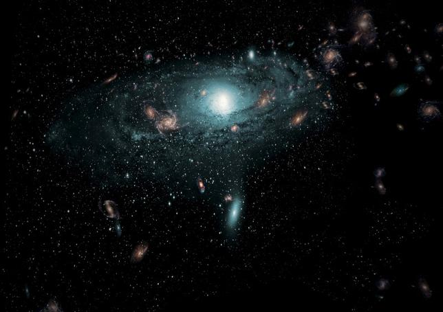 An artist's impression of the galaxies found in the Zone of Avoidance behind the Milky Way is shown in this undated illustration provided to Reuters by the International Centre for Radio Astronomy Research February 24, 2016. REUTERS/ICRAR/Handout via Reuters