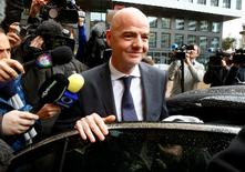 FIFA presidential candidate Gianni Infantino leaves after his visit to the CONCACAF meeting in Zurich, Switzerland February 25, 2016. REUTERS/Arnd Wiegmann