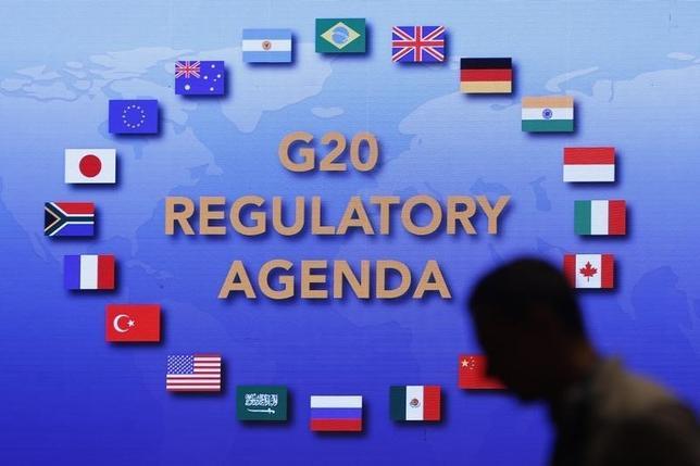 2月29日、20カ国・地域(G20)財務相・中央銀行総裁会議の声明文に「政策総動員」が盛り込まれ、余力のある国の財政出動が望ましいとのメッセージが出た。写真は上海で25日撮影(2016年 ロイター/Aly Song)