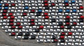 New Ford vehicles are seen at a parking lot of the Ford factory in Sao Bernardo do Campo February 12, 2015. REUTERS/Paulo Whitaker