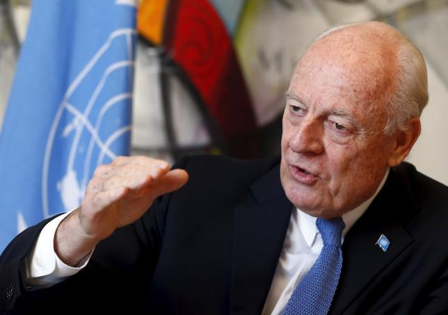 U.N. mediator for Syria, Staffan de Mistura talks to Reuters during an interview at the U.N. in Geneva, Switzerland March 1, 2016. REUTERS/Ruben Sprich