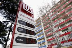 Unleaded petrol is priced at 1.44 lari ($0.58) per litre at a Lukoil fuel station in Tbilisi, Georgia, February 2, 2016.  REUTERS/David Mdzinarishvili